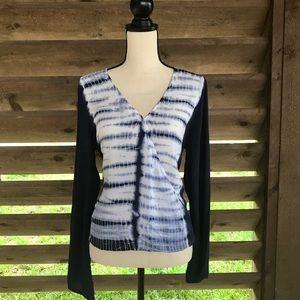 Blue & White Tie Dye Top
